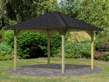 Set: Karibu Holz-Pavillon Set Cordoba, inkl. H-Pfostenanker, Haube und Dachschindelni