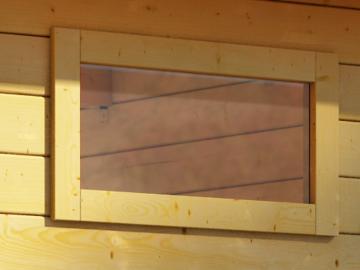 Karibu Holz-Gartenhaus  38 mm längliches feststehendes Fenster  naturbelassen