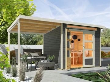 Wolff Finnhaus 19mm Holz-Gartenhaus Venlo mit Flachdach und großem Schleppdach - titangrau