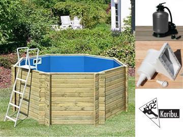 Aktion: Karibu Holz-Pool Swimmingpool Achteck LILIPUT - naturbelassen inkl. Filteranlage, Pumpe, u.v.m.