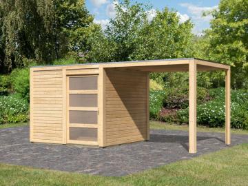 Karibu Holz-Gartenhaus  19mm Qubic im Set mit Anbaudach naturbelassen inkl. Alu-Dachbahnrollen