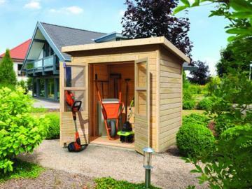 Sommeraktion: Karibu Gartenhaus Merseburg 2 - 14 mm Pultdach im Steck- und Schraubsystem - naturbelassen