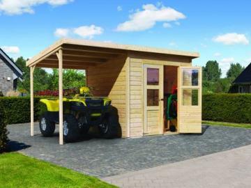 Sommeraktion: Karibu Gartenhaus Merseburg 2 mit Schleppdach im Set - 14 mm Pultdach im Steck- und Schraubsystem - naturbelassen