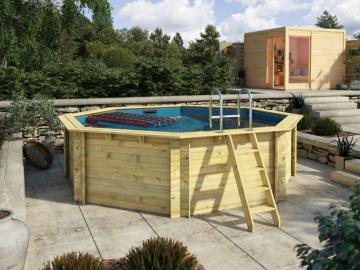 Aktion Pool: Karibu Holz Pool Lago 2B Sparset - KDI - inkl. Sonnendeck Mitte