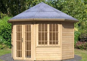 Karibu Holzpavillon Roma 2 8-Eck Premium - natur