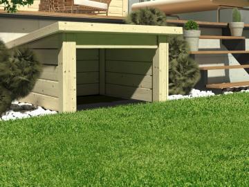 Woodfeeling Gartenhaus: 19 mm Haus für Mähroboter  - naturbelassen