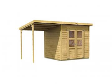 Angebot: Karibu Gartenhaus Set Merseburg 4, inkl. Anbaudach mit Rückwand und Dachfolie - naturbelassen
