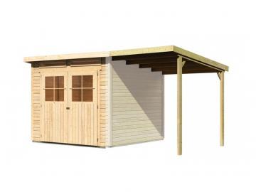 Angebot: Karibu Gartenhaus Set Glücksburg 4, inkl. Anbaudach und Dachfolie - naturbelassen