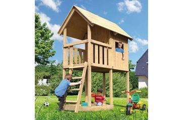 Woodfeeling Spielturm Susi mit geschlossenem Spielturm inkl. Satteldach  - naturbelassen