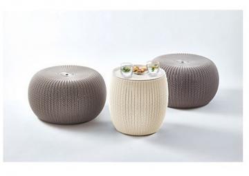 Tepro Cozy Urban Set creme/taupe - Beistelltisch und dekorative Sitzgruppe