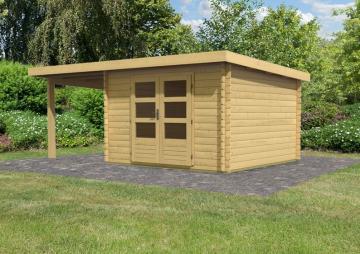Woodfeeling Gartenhaus Pultdach Bastrup 5 - 28 mm mit 2 m Schleppdach