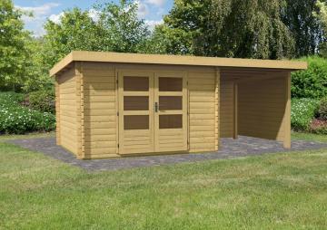 Woodfeeling Gartenhaus Pultdach Bastrup 5 - 28 mm mit 2 m Schleppdach inkl. Seiten- und Rückwand