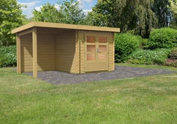 Woodfeeling Gartenhaus Pultdach Bastrup 2 im Set mit 2 m Schleppdach und Rückwand