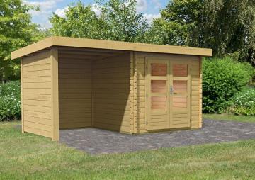 Woodfeeling Gartenhaus Pultdach Bastrup 2 im Set mit 2 m Schleppdach inkl. Seiten- und Rückwand