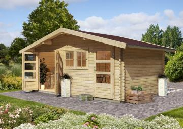 Woodfeeling Gartenhaus Fagor 1 Satteldach 38 mm Blockbohlenhaus Mittelwandhaus- natur
