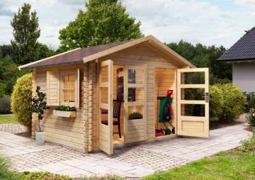 Woodfeeling Gartenhaus Kardur Satteldach 28 mm Blockbohlenhaus Mittelwandhaus- natur