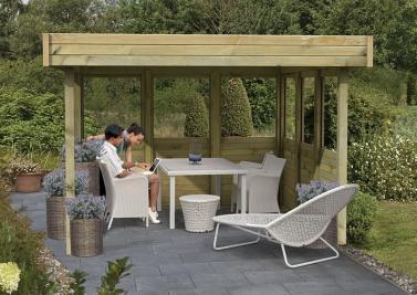 Karibu Pavillon Garten Holz Pavillon Flachdachpavillon