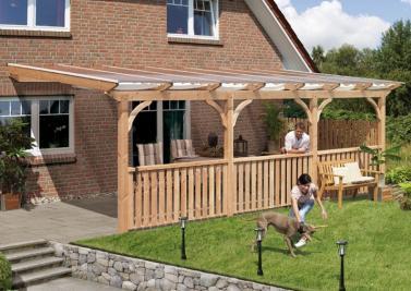 TerrassenUberdachung Holz Douglasie ~ Karibu Holz Terrassenüberdachung Modell 3 Premium  Größe A (350 x