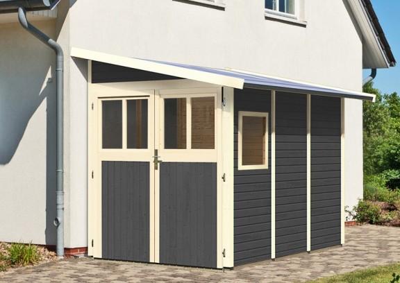 karibu gartenhaus wandlitz 3 pultdach 19 mm system terragrau. Black Bedroom Furniture Sets. Home Design Ideas