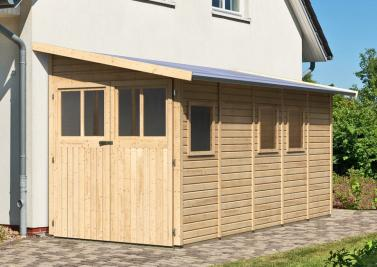 karibu gartenhaus wandlitz 5 pultdach 19 mm system natur. Black Bedroom Furniture Sets. Home Design Ideas