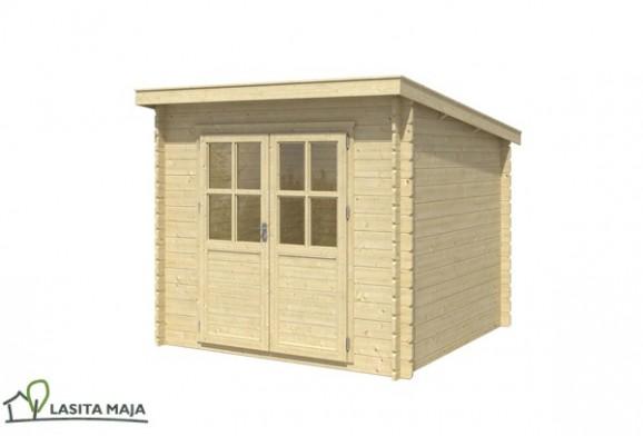 gartenhaus blockbohlenhaus flachdach indi 172 inkl dachpappe. Black Bedroom Furniture Sets. Home Design Ideas