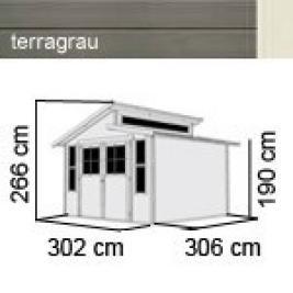 karibu gartenhaus grauburg 7 stufendach 19 mm system terragrau. Black Bedroom Furniture Sets. Home Design Ideas