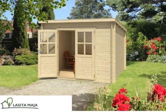 gartenhaus blockbohlenhaus flachdach nadia 272 inkl dachpappe. Black Bedroom Furniture Sets. Home Design Ideas