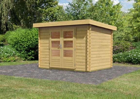 woodfeeling gartenhaus pultdach bastrup 3 28 mm blockbohlen naturbelassen. Black Bedroom Furniture Sets. Home Design Ideas