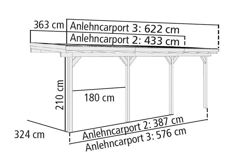 karibu anlehn carport eco 3 kesseldruckimpr gniert. Black Bedroom Furniture Sets. Home Design Ideas