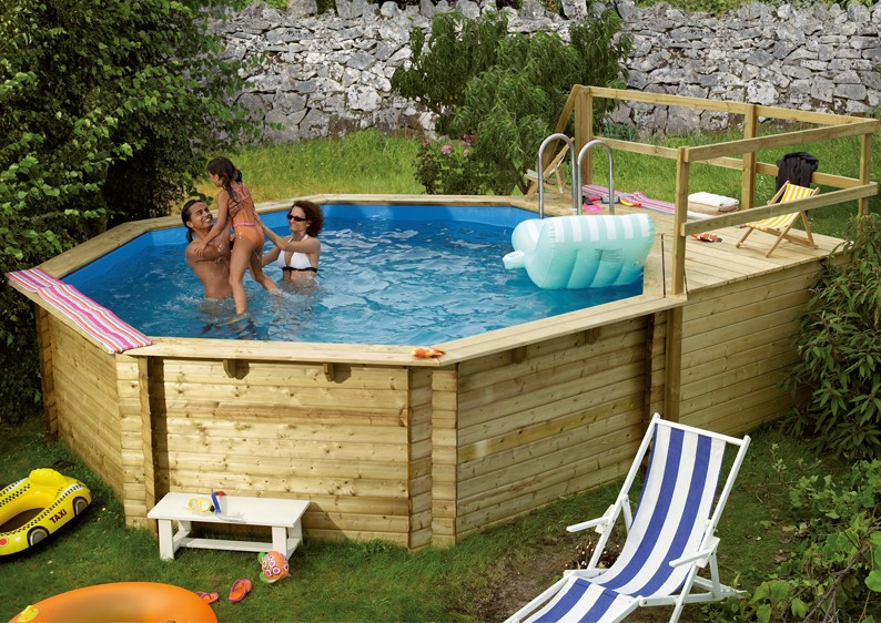 Karibu pool holz swimmingpool achteck modell b1 400 x 480 for Garten pool hersteller
