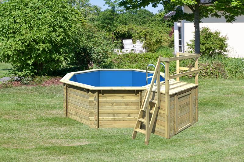 karibu pool holz swimmingpool achteck modell b1 400 x 480 cm kdi inkl sonnenterrasse. Black Bedroom Furniture Sets. Home Design Ideas