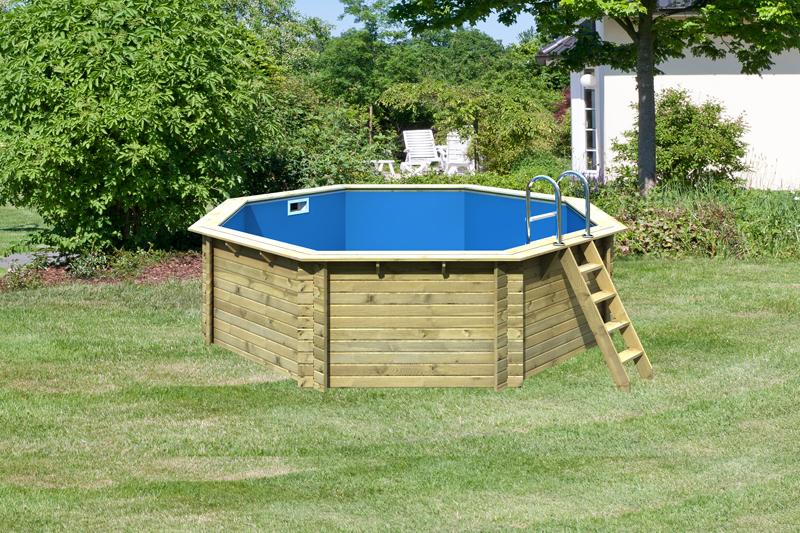 Karibu pool holz swimmingpool achteck modell a2 470 x 470 for Swimming pool holzpool