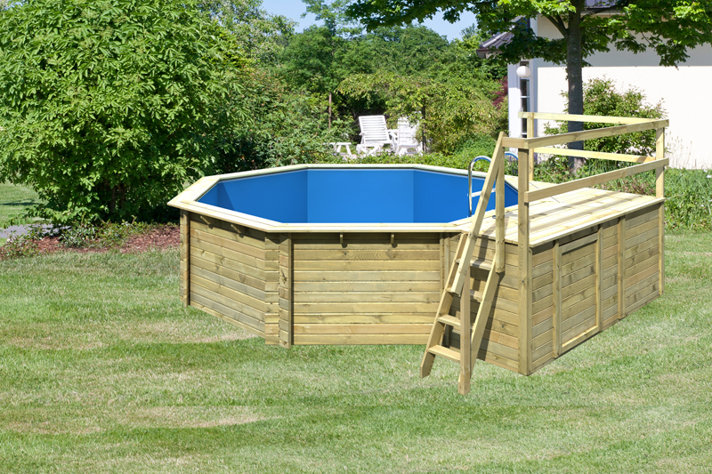 Karibu pool holz swimmingpool achteck modell c2 470 x 550 for Pool stahlwand eckig