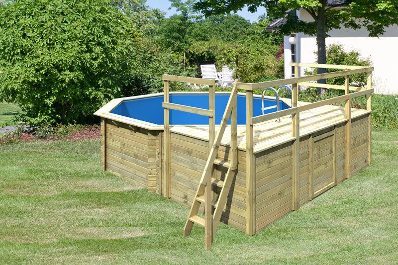 Karibu pool holz swimmingpool achteck modell d2 470 x 550 for Swimming pool holzpool