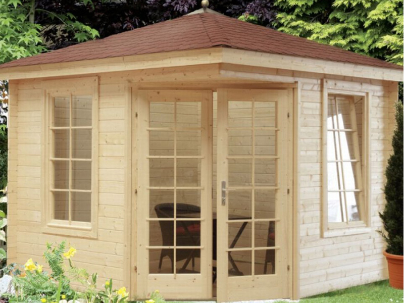 wolff finnhaus gartenhaus julia 28 a 5 eck dach bohlenma e 260 x 260 cm. Black Bedroom Furniture Sets. Home Design Ideas