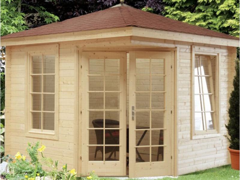 wolff finnhaus gartenhaus julia 28 b 5 eck dach bohlenma e 300 x 300 cm. Black Bedroom Furniture Sets. Home Design Ideas