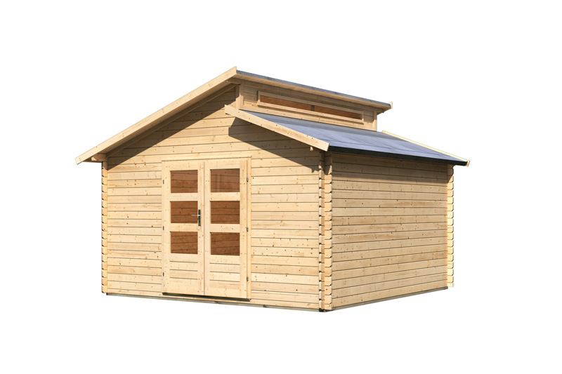 karibu gartenhaus v rmland 2 stufendach 28 mm massiv natur. Black Bedroom Furniture Sets. Home Design Ideas