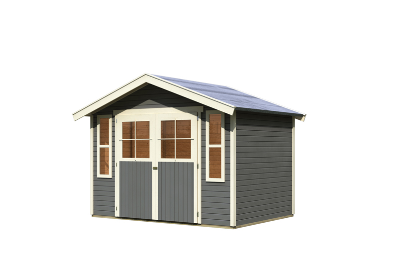 karibu gartenhaus auburg 6 satteldach 19 mm system terragrau. Black Bedroom Furniture Sets. Home Design Ideas