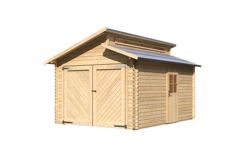 karibu blockbohlengarage mit stufendach 28 mm naturbelassen. Black Bedroom Furniture Sets. Home Design Ideas