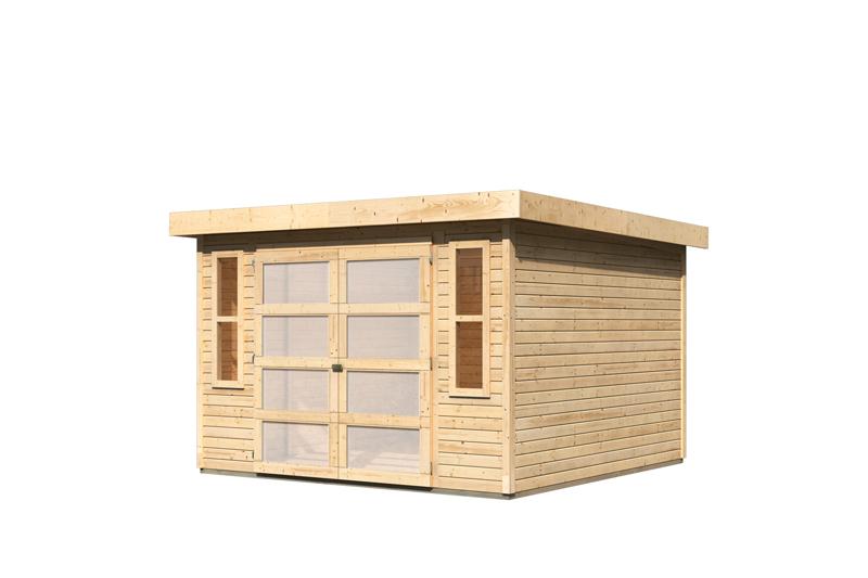 karibu gartenhaus m hlendorf 5 flachdach 19 mm system natur. Black Bedroom Furniture Sets. Home Design Ideas