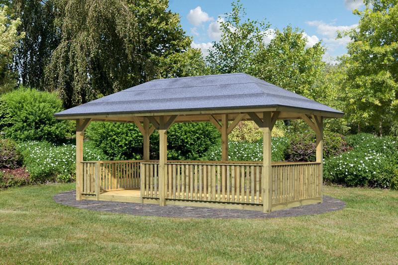 sonderangebot karibu holzpavillon bergen 2 4 eck pavillon classic kdi. Black Bedroom Furniture Sets. Home Design Ideas