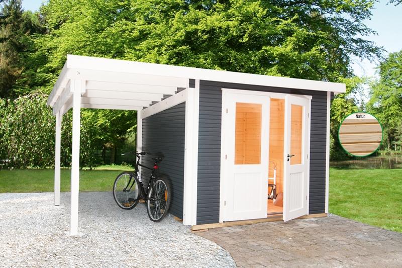Wolff Finnhaus Gartenhaus Flachdachgartenhaus aus Holz Pulti 28mm
