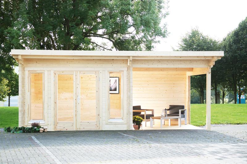 Wolff Finnhaus Gartenhaus aus Holz Flachdach 70mm Trondheim 70 A