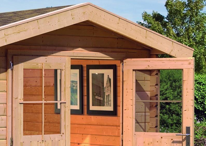 woodfeeling gartenhaus felsenau 5 satteldach 38 mm blockbohlenhaus natur. Black Bedroom Furniture Sets. Home Design Ideas