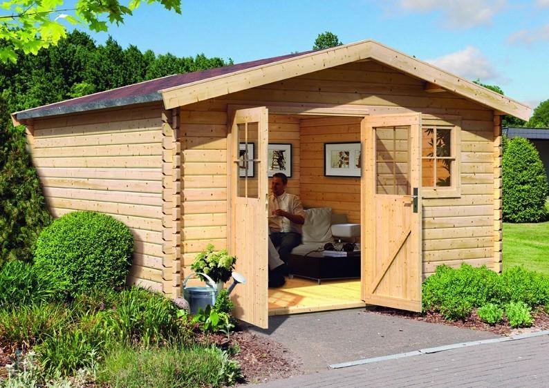 woodfeeling gartenhaus felsenau 7 satteldach 38 mm blockbohlenhaus natur. Black Bedroom Furniture Sets. Home Design Ideas