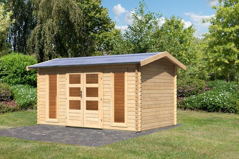 karibu gartenhaus hasselberg satteldach 28 mm massiv natur. Black Bedroom Furniture Sets. Home Design Ideas