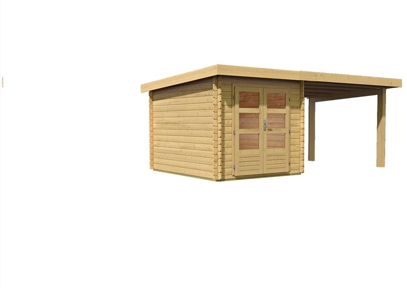 Woodfeeling Gartenhaus Pultdach Bastrup 4   28 mm Blockbohlen
