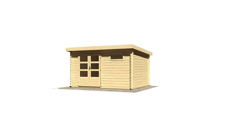 woodfeeling gartenhaus bastrup 8 28 mm blockbohlenhaus mit pultdach naturbelassen. Black Bedroom Furniture Sets. Home Design Ideas