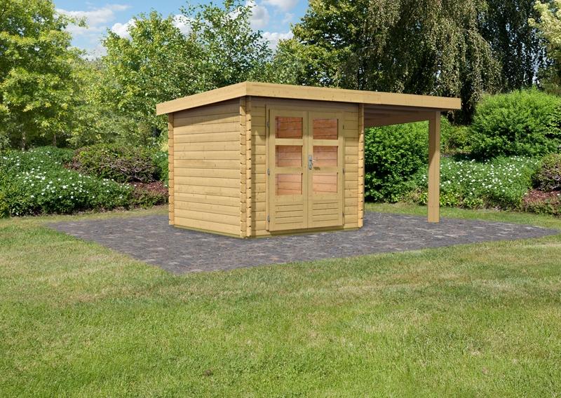 woodfeeling gartenhaus pultdach bastrup 2 28 mm im set mit 2 m schleppdach. Black Bedroom Furniture Sets. Home Design Ideas