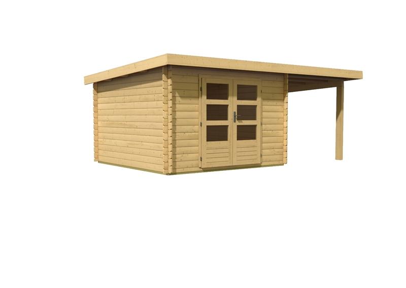 woodfeeling gartenhaus pultdach bastrup 5 28 mm mit 2 m schleppdach. Black Bedroom Furniture Sets. Home Design Ideas